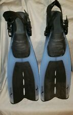 Oceanic Aeris Velocity Open-Heel L-XL Scuba Fins with Quick Straps