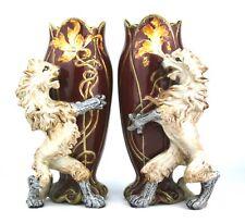 Wilhelm Schiller & Son Vases Set of 2 Lion & Opinicus Salient Majolica c.1900
