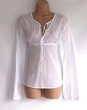 White Soft 100% Cotton X-MAIL Empire Ladies Women's Blouse Tunic Size L 40 - 42