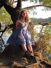 Chiffonkleid Kleid Sommerkleid blau Tellerrock 50er True VINTAGE 60s dress blue