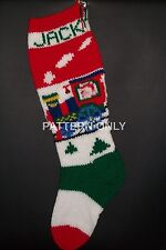 Pattern Only Hand Knitted Santa on a Train Christmas Stocking