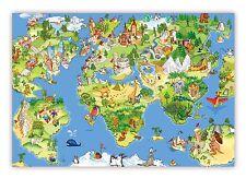 XXL Poster 100 x 70 cm Wimmelbildposter Kinderposter schöne Weltkarte Landkarte