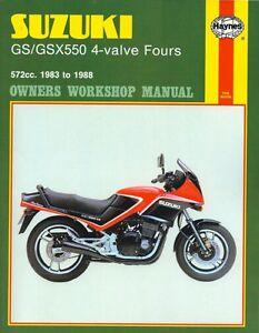 Haynes Suzuki GSX550 4-valve models 1983-1988 workshop manual #1133 *