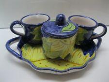 Vintage Sorrento Italian Pottery Set of (2) Espresso Cups/Sugar with Platter