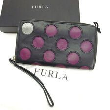 Furla Wallet Purse Long Wallet Black Purple Woman Authentic Used Y2266