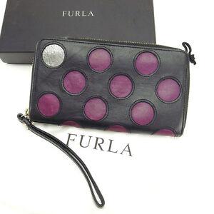Furla Wallet Purse Long Wallet Black Purple Woman Authentic Used Y2266
