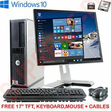 "Dell Desktop Tower PC CPU INTEL QUAD CORE 1tb HD 8gb RAM Wi-Fi di Windows 10 17""tft"