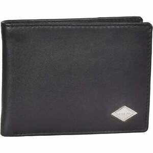 Replay Men's Premium Bi-Fold Leather Wallet, Black One Size