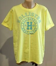 Abercrombie & Fitch HOLLISTER T-SHIRT Womens Yellow Logo Tee Top Size L NWT