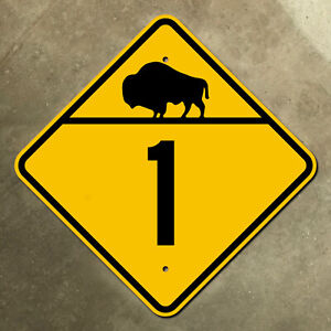 Manitoba provincial highway 1 route marker road sign Canada 1940s bison buffalo