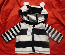 Baby Gap NWT Navy Blue White Striped Terry Hoody Newborn up to 7 lbs. $27