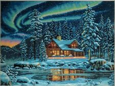 Dimensions Gold AURORA CABIN Winter Lights Cottage Counted Cross Stitch Kit USA