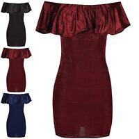 Womens Off Shoulder Bardot Mini Dress Ladies Ruffle Frill Bandage Party Bodycon
