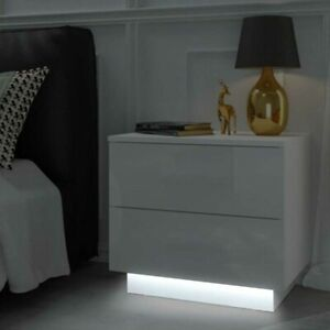 Nachttisch LED Nachtkommode Hochglanz galt Beleuchtung Kommode weiß