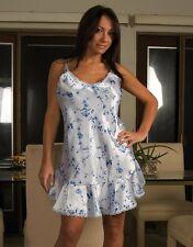 Sexy Plus Size Lingerie Light Blue floral print shiny lace charmeuse chemise 1X