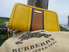NEW BURBERRY wallet large Ziggy zip around ITALY saffron yellow $595 dust bag oo