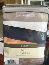 Queen Size Bedskirt Denim Blue Jeans Bed Skirt Home Trends Dark Blue *FREE SHIP*