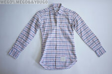 THOM BROWNE Oxford Cloth Plaid Shirt Button UP Grosgrain Placket sz 1 Small S