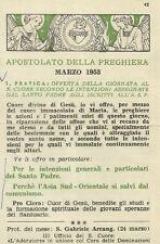 Apostolato della Preghiera Marzo 1953 Offerta della Giornata al S. Cuore 1953