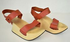 Trippen Sandals Platform Shoes Wood Leather Fresh Red 39 Womens Germany