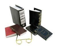 Dolls House Assorted Books & Reading Glasses Office Study Bookshelf Accessory