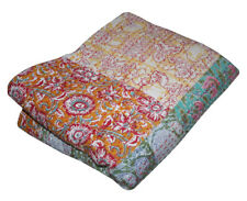 Vintage Patchwork Flor Kantha Quilt Handmade Cotton QueenBedspread Throw Blanket
