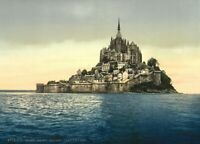 Le Mont St. Michel, East Coast, 1890's, Vintage French Photography Poster