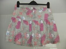 "Fat Face Mini Skirt 100% Linen Size 10 L15"" Pink Grey Green Floral"