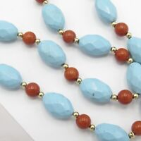 Vtg Estate Signed 14k Gold Faceted Persian Turquoise Natural Coral Bead Necklace