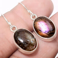 Purple Labradorite - Madagascar 925 Sterling Silver Earrings Jewelry AE19531