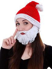 Adult Christmas Santa Mens Hat Beard Whiskers Beard Hand Crochet Cap