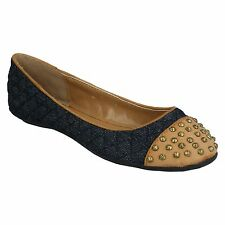 LADIES WOMENS ANNE MICHELLE SLIP ON CASUAL FLAT BALLERINA DOLLY SHOES L4R933