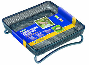 Compact Ground Feeder Tray Black Metal Micromesh   Tray For Ground Feeding Birds