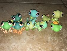 Littlest Pet Shop Lot Of 9 Amphibian And Reptiles Green Used Turtle Lizard Frog