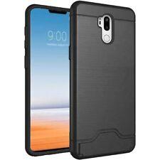 For LG G7 ThinQ Bottom Card Holder Brushed Metal Hybrid Phone Case - Black