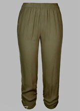 Khaki Green Crinkle Pants 16 Light Viscose Ruched Hem Stretch Waist Crop Length