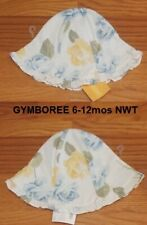 NWT GYMBOREE Sun Hat Baby Girl 6-12 mo White with Yellow and Blue Roses NEW
