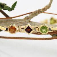 "14k Yellow Gold Estate Garnet Peridot & Citrine Link Bracelet 7 1/4"""