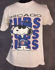 Rare Vtg Chicago Cubs  Snoopy T-shirt 1988 Small S White Artex Peanuts Baseball