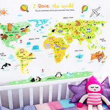 76 Removable Animal World Map Wall Sticker Decal Mural Bedroom Kids Room Decor