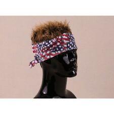 FLAIR HAIR HATS WITH HAIR USA BANDANA BROWN HAIR QUALITY SURF PARTY FUN WIG
