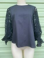 NWT ZARA Woman Black BLOUSE TOP WITH CONTRASTING ORGANZA SLEEVES Size S 2429