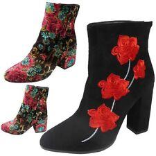 Faux Suede Floral Flats for Women