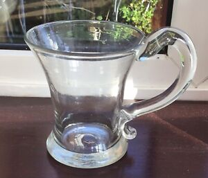 Heavy Georgian handblown drinking glass tankard Snapped pontil Applied handle