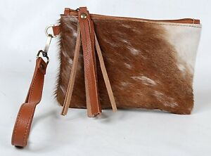 """Real Cowhide Leather Wristlet Clutch Wallet Double Side Hairon 8.5""""x5.5"""" RW-5898"""