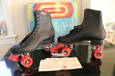 "Vintage Men's ""Chicago"" Roller Skates Black Size 8 Original Box Red Wheels"