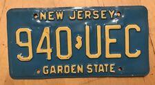 "NEW JERSEY BUFF / BLUE PASSENGER AUTO  LICENSE PLATE "" 940 UEC "" NJ GARDEN STATE"