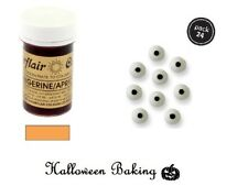 Sugarflair TANGERINE Paste Gel & PME Eye Balls Toppers For Halloween Decorations