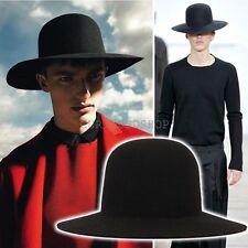 New Homme Round Structured Crown Top Felt Wool Floppy Fedora Hat Wide Brim Black