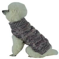 PETC-SW16GYLG-Royal Bark Heavy Cable Knitted Designer Fashion Dog Sweater